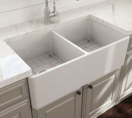 Bocchi Undermount Farmhouse Fireclay Kitchen Sinks on kohler fireclay sinks, white undermount bar sinks, single bowl kitchen sinks, elkay fireclay sinks, franke fireclay sinks, rohl sinks, ferguson sinks, square undermount bathroom sinks, stainless steel kitchen sinks,