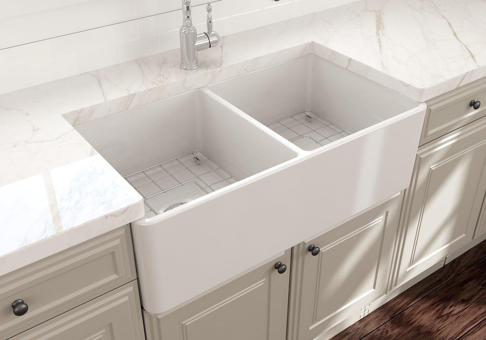 White Double Bowl Farmhouse Sink.Classico 33d Farmhouse Apron Front Fireclay 33 Double Bowl