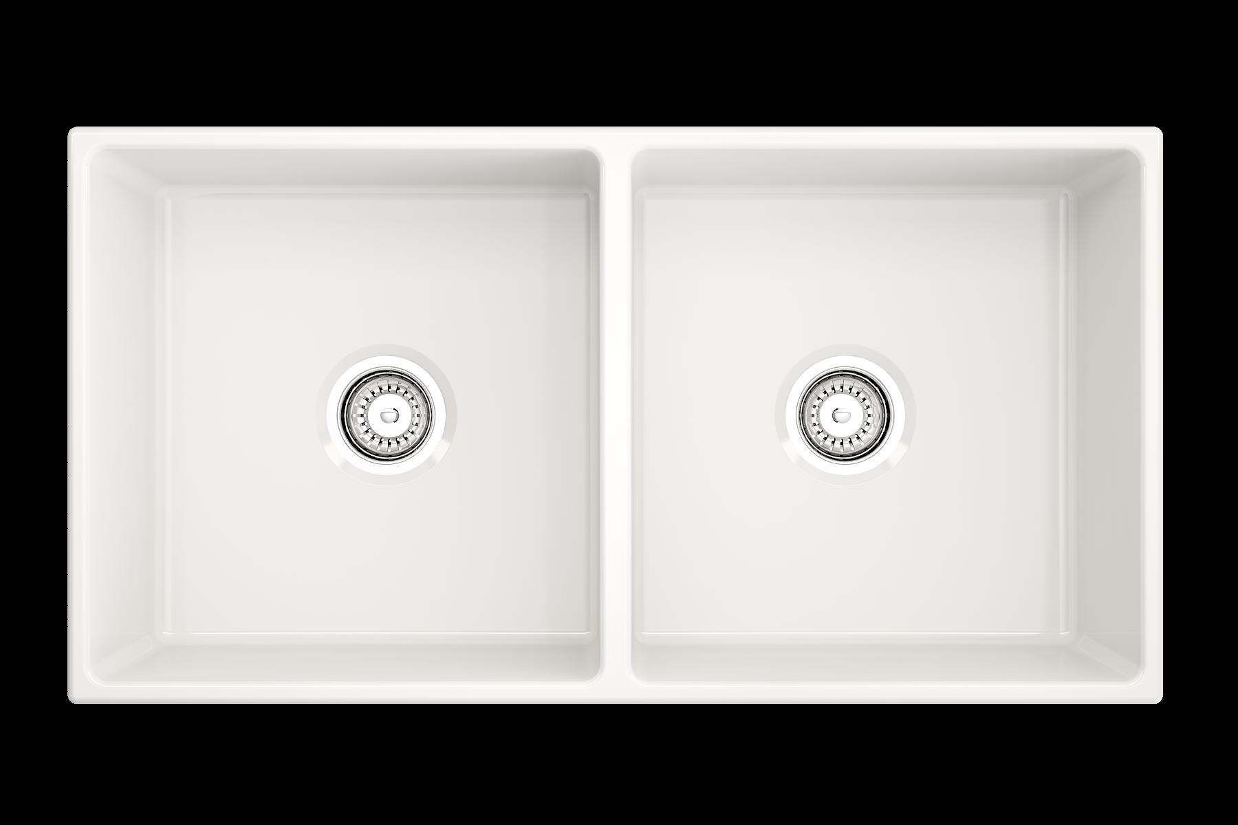 Contempo 36d Farmhouse Apron Front Fireclay 36 Double Bowl Kitchen Sink White