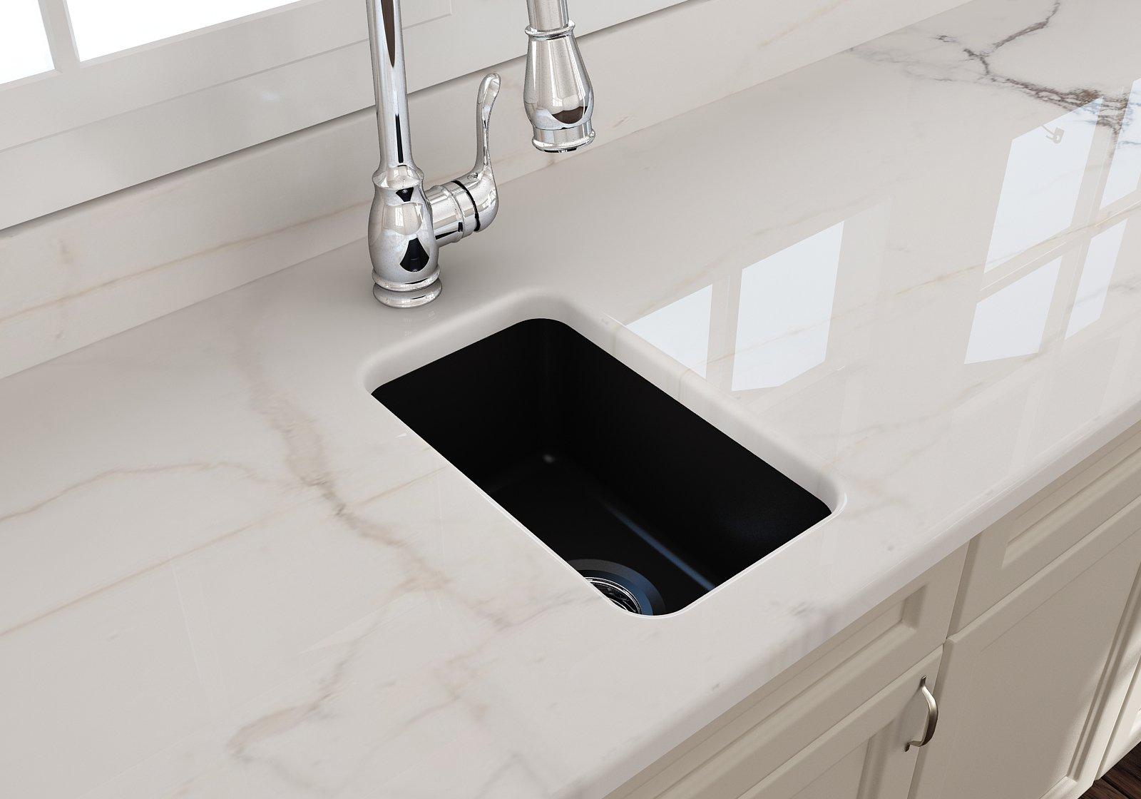 Sotto 12 Undermount Fireclay 12 Single Bowl Kitchen Sink Matte Black