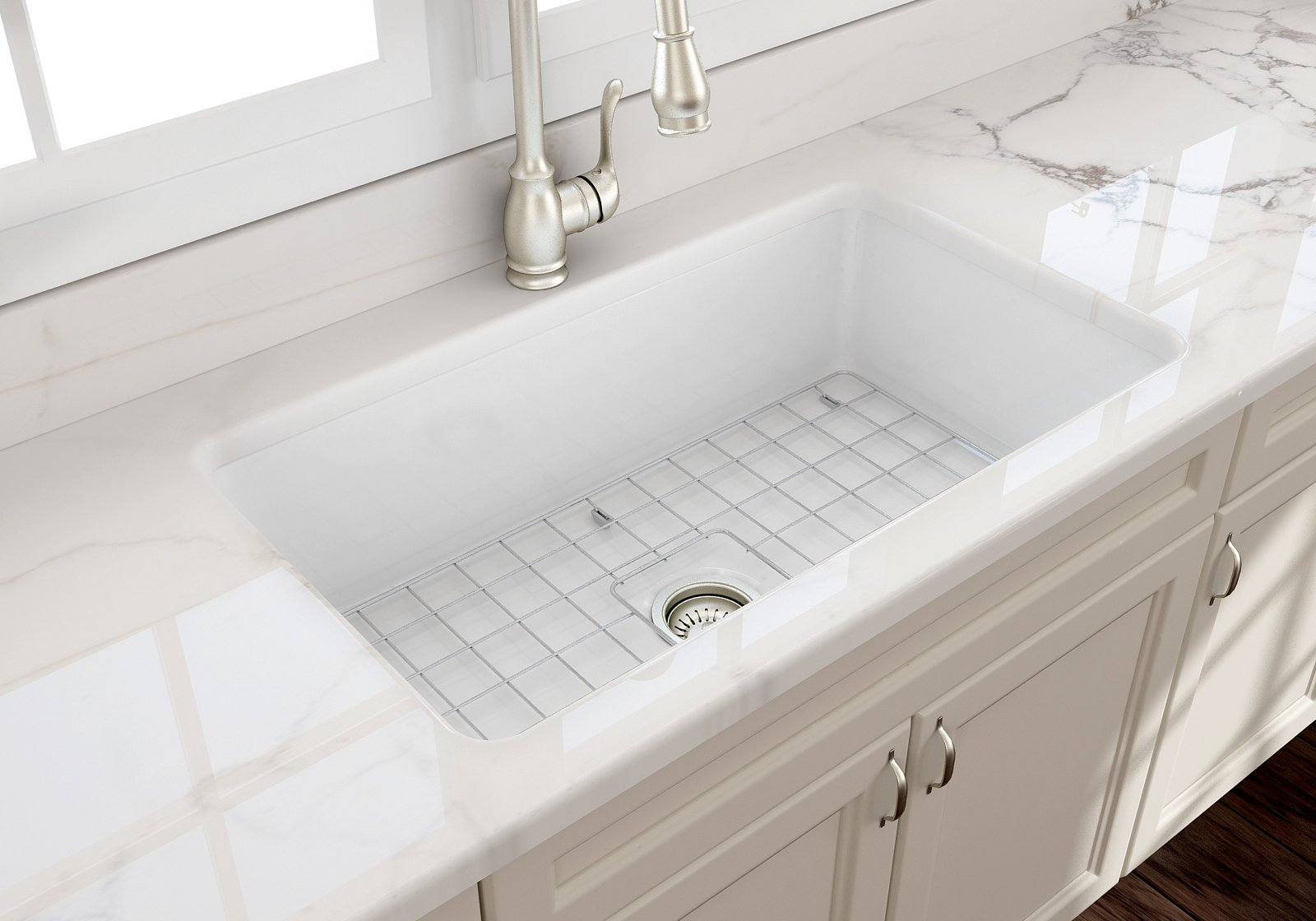 Image of: Sotto 32 Undermount Fireclay 32 Single Bowl Kitchen Sink White